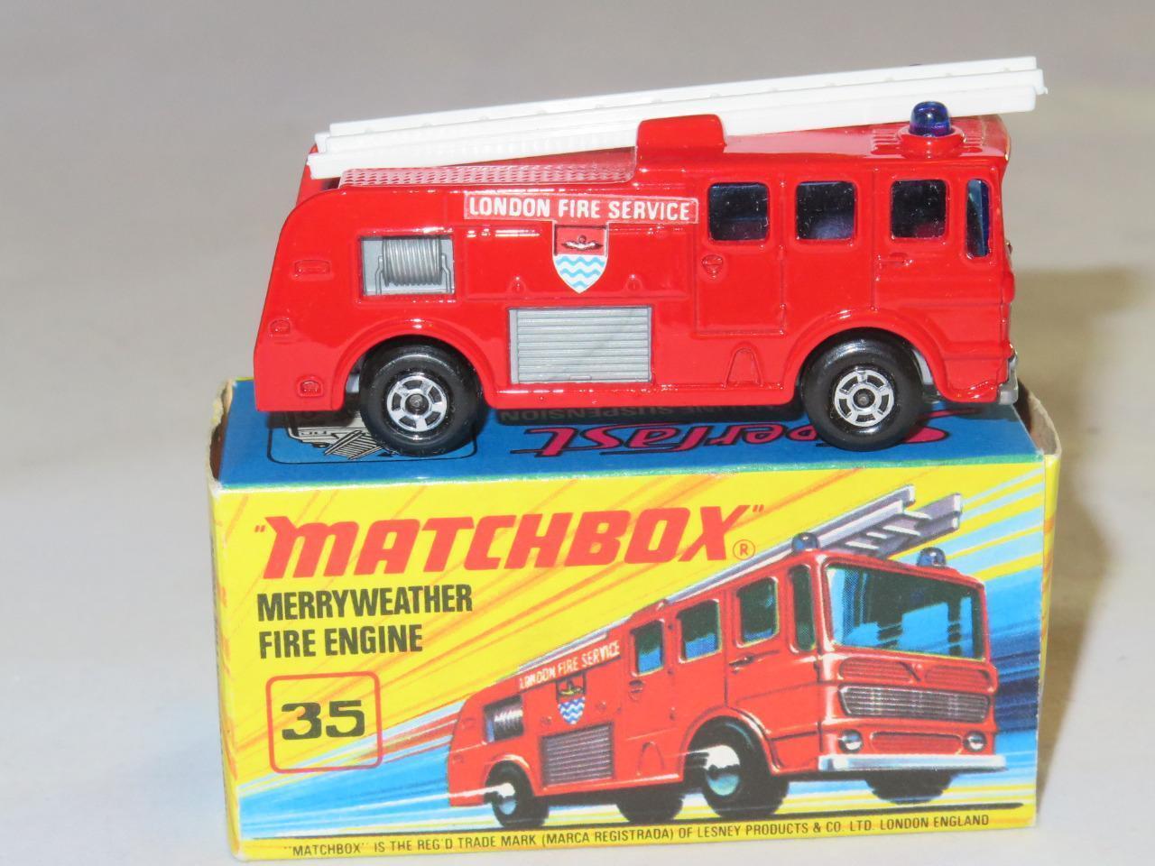 MATCHBOX SUPERFAST 35 Merryweather Fire Engine MINT in  I2 Box 2 Rivet Clips RARE  jusqu'à 60% de réduction