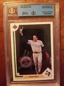 Autographed-1991-Upper-Deck-345-Nolan-Ryan-Texas-Rangers