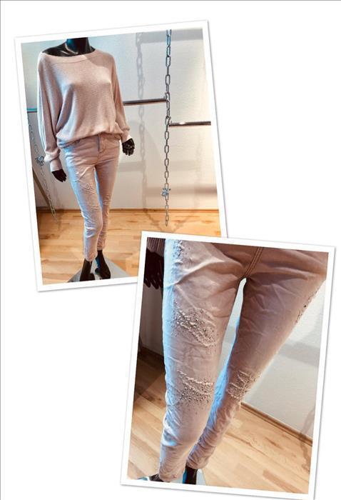 DW EMPIRE  Boyfriend Stretch Jeans Destroy Glitzer rosé, 44 - 46 - 48 - 50 NEU