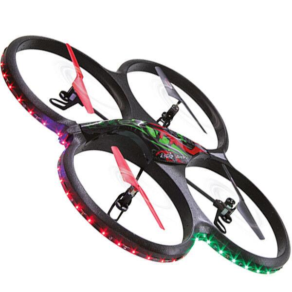 DRONE QUADRICOTTERO LUCI LED TELECAMERA FLYSCOUT RADIOCOMANDATO ACROBATICO SD 4G
