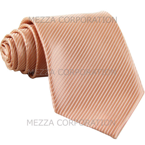 New polyester formal Vesuvio Napoli stripes neck tie wedding prom party Peach