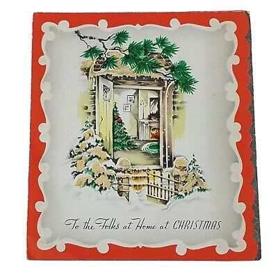 Vintage Christmas Card Fireplace Chair Presents Gifts Candles Pine Boughs Tree