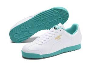 Details zu Puma Roma Basic Plus Men's 9 Shoes Puma White Blue Turquoise 369571 05