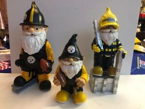 Pittsburgh-Steelers-Gnome-Lot-of-3-Great-Condition-NFL-Steel-City