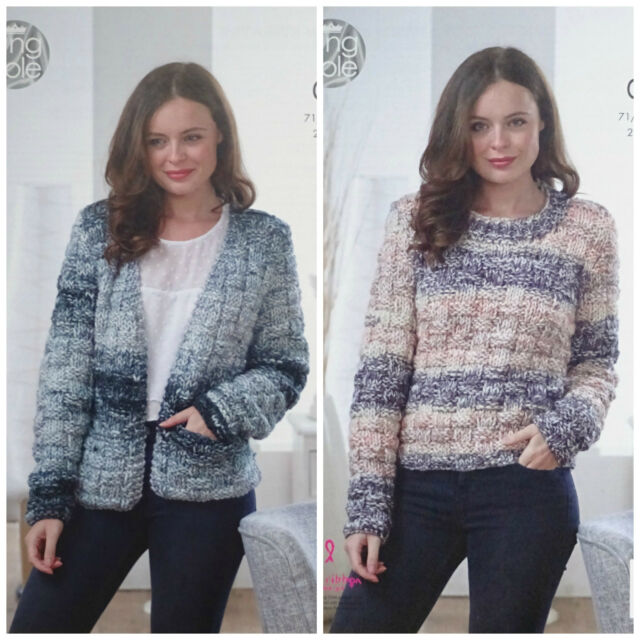 1b36c1ba2 KNITTING PATTERN Ladies Easy Knit Textured Jumper   Cardigan Super Chunky  5029