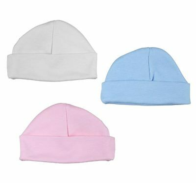 NEWBORN BABY HAT 100/% COTTON PREM//TINY WHITE PINK  BLUE 0-3 MONTHS COTTON CAP