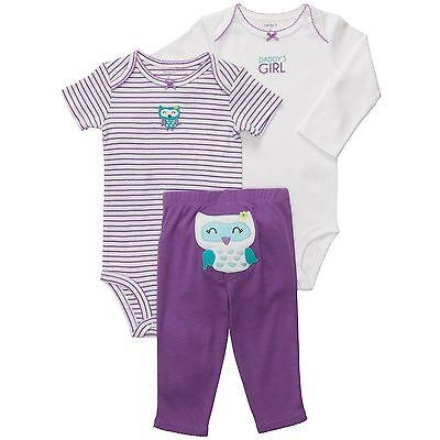 Carter's baby girl purple owl striped short & long sleeve bodysuit pants 3pc set