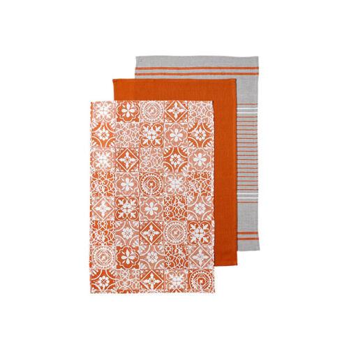 Set de 3 cuisine textiles Lavettes Ladelle ORANGE MOROCCAN Tile torchons