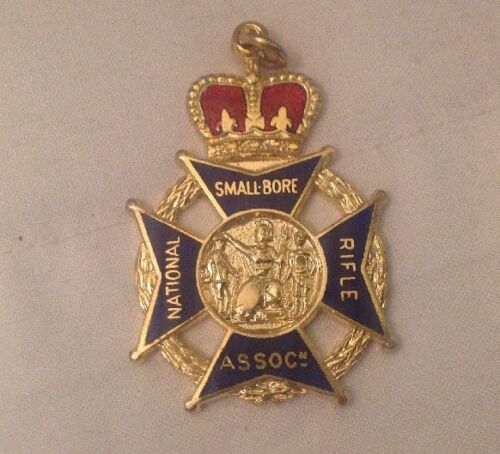 Vintage Enamel National Smallbore Rifle Association Medal & 2 Others