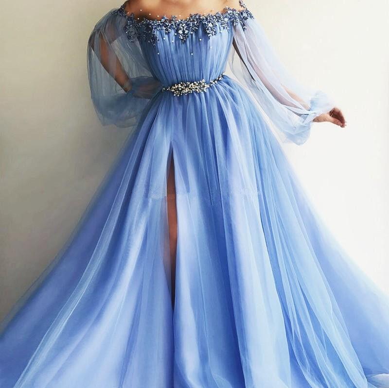 Arabiska kändisar Beaded Tulle Evening Dress Split Side Formal Prom Pkonsty Gowns