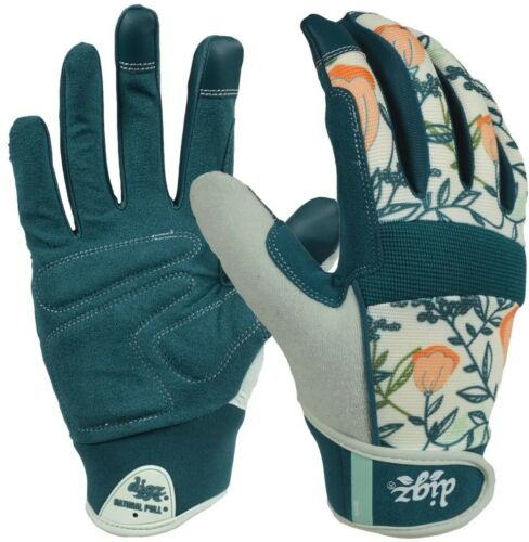 Digz Women s Large Fabric Gardener Touchscreen Gloves Leather Washable Outdoor