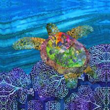 Sea Turtle Fabric Quilt Square Beach Blue Ocean Panel Purple Reef Batik Block