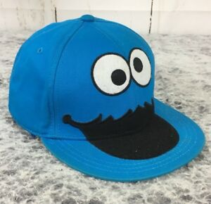 aaf44f221701 Details about Blue Sesame Street Cookie Monster Face Youth Sz Medium  Flatbill Fitted Hat Cap