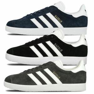 Adidas Mens Gazelle Trainers Nubuck Leather Rubber Sole Black Navy Grey Footwear
