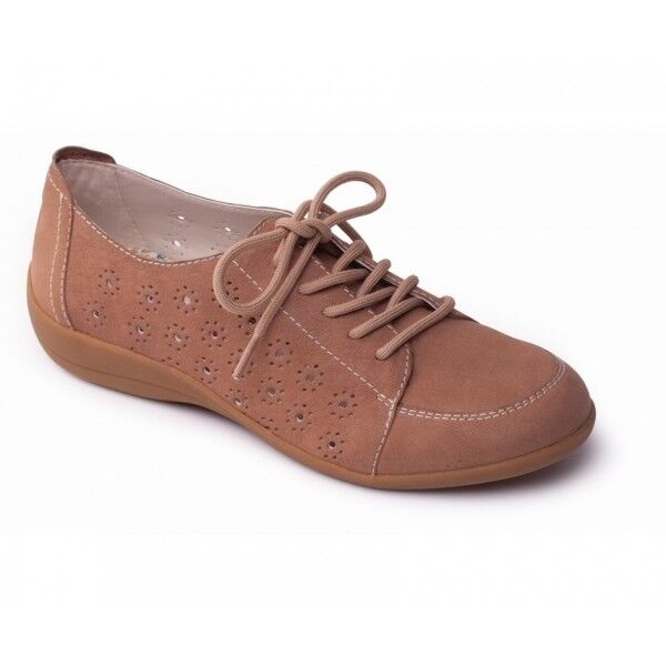 Padders DARCY Ladies Womens Leather 5 Eyelet Lace Up Extra Wide (2E) Shoes Beige