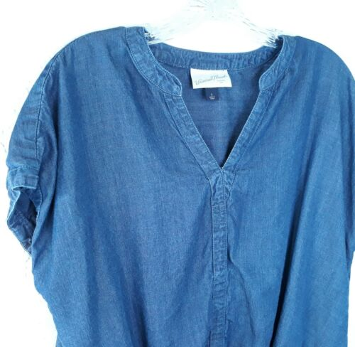 UNIVERSAL THREAD Small Chambray High Low Top Overs
