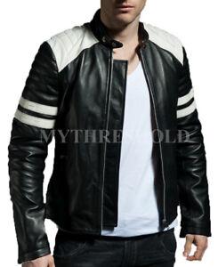Fight Stripe Jacket New Mayhem White Leather Black Club Retro UddZqwSp