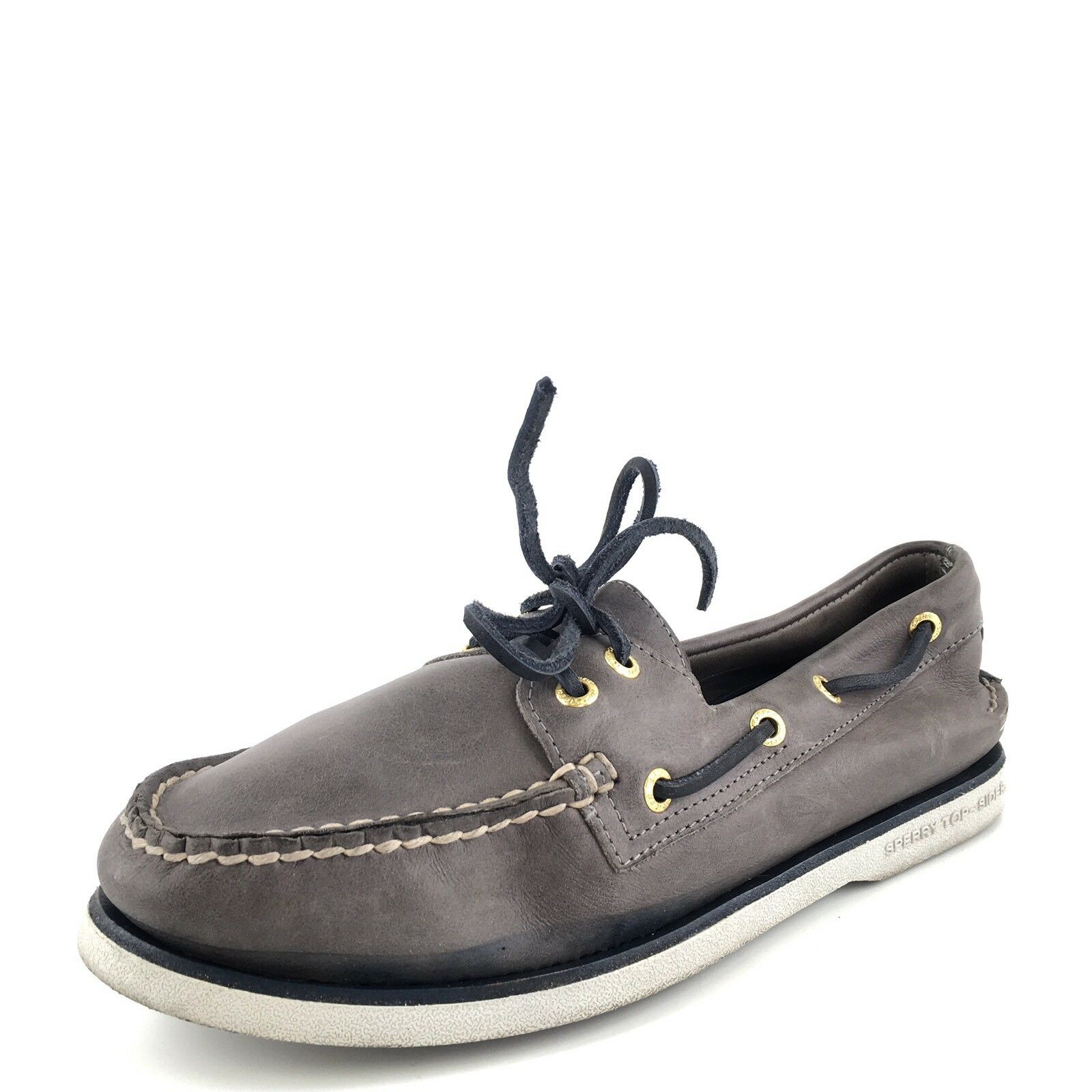 Sperry Top-Sider Gold Cup Original Gray Navy Leather Boat Shoes Men's Size 8 M*