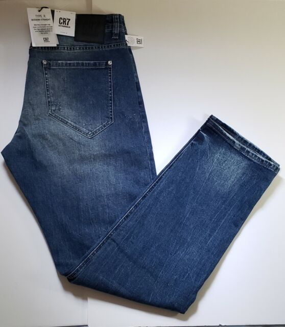 CR7 Cristiano Ronaldo Men's Jeans Type R Modern Straight Ripped Size Various