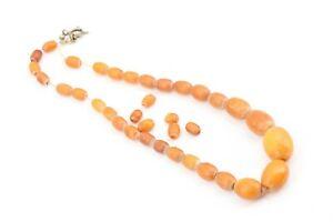 Bernsteinkette-Olive-Yellow-Butterscotch-Gewicht-18-11g-40cm-old-amber