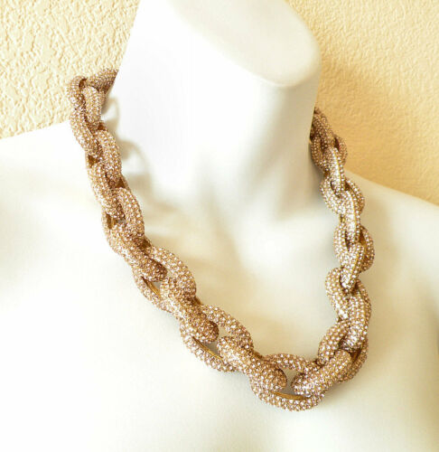 Women Crew Chunky Pave Classic Link Chain Necklace J Style with 3,500 Crystals