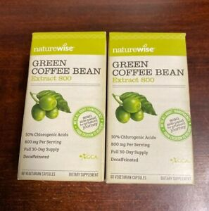 Naturewise Green Coffee Bean Extract 800 60 Veg Caps Exp01/2020 Sealed Pack Of2