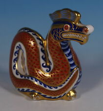 Royal Crown Derby Paperweight Imari Chinese Ceremonial Dragon Figure