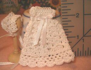 Crochet-Baby-Dollhouse-Doll-Christening-Gown-with-Bonnet-Handmade-Pretty