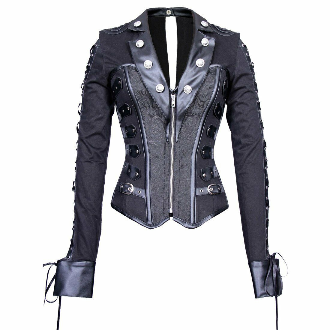 Plus Größe Gothic Steampunk Military Motorcycle Steel Boned Corset Jacket Top