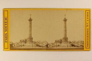 Francia Parigi Place Da La Bastille c1865 Foto N. C.Stereo Vintage Albumina