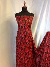 "NEW Candy Hair Red Silky Floral Print Crepe Fabric 45""115cm Designer Dress Poppy"