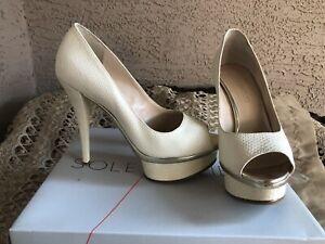ENZO-ANGIOLINI-Ivory-Snake-Embossed-Love-U-Too-Stiletto-Heels-Pumps-Size-7-5