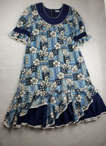 Vtg Winnie Fashion Blue Hawaiian Hibiscus Dress Mu