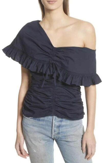 7bb14ebfdef651 Buy Sea NY Livia Ruched   Ruffle One-shoulder Top Navy 6 online