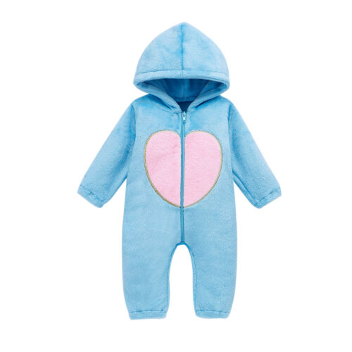 Newborn Toddler Baby Girl Boy Hooded Romper Jumpsuit Winter Warm Outfits Clothes