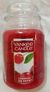 Yankee-Candle-CHERRIES-ON-SNOW-Large-Jar-22-Oz-Red-Housewarmer-New-Wax-Fruit