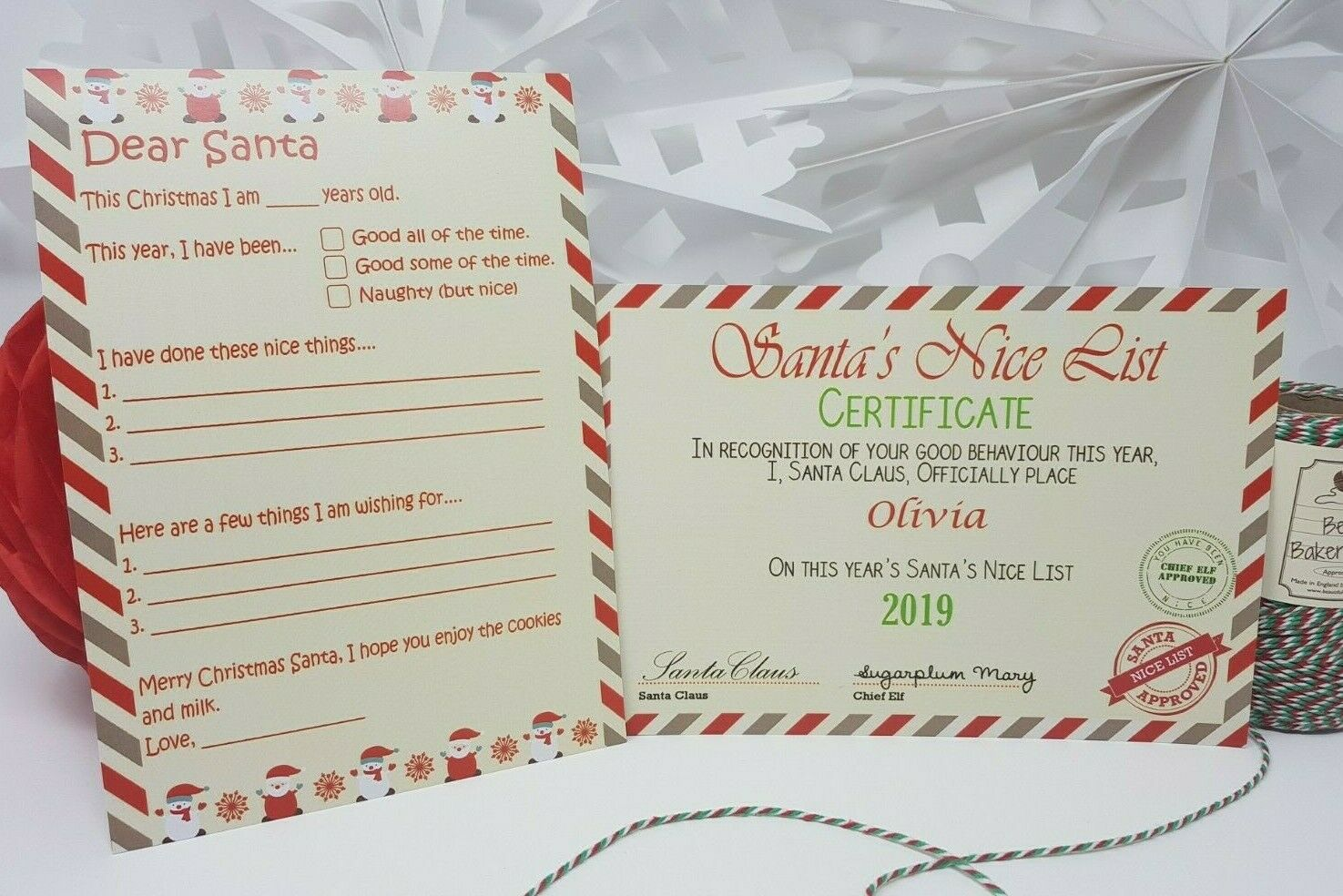 NICE LIST CERTIFICATE personalised letter from santa xmas  BOY GIRL A5 size