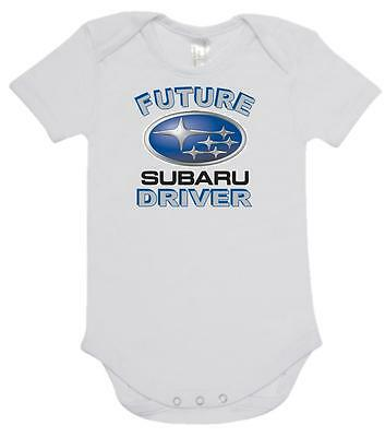 BABY ONE PIECE, ROMPER. ONESIE. printed with FUTURE SUBARU DRIVER 100% cotton