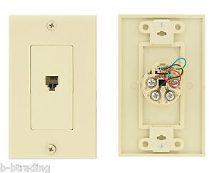 50 leviton ivory decora 4 wire phone jack plate flush mount rj11 4 wire c2449 i 78477867754 ebay. Black Bedroom Furniture Sets. Home Design Ideas