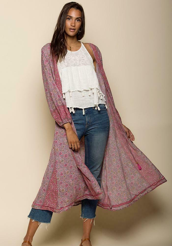 Raga Printed Kimono Ditsy Floral Size Medium Pink