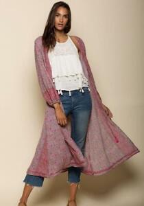 Pink Trykt Størrelse Ditsy Medium Kimono Raga Blomster C7wqxYdnSH