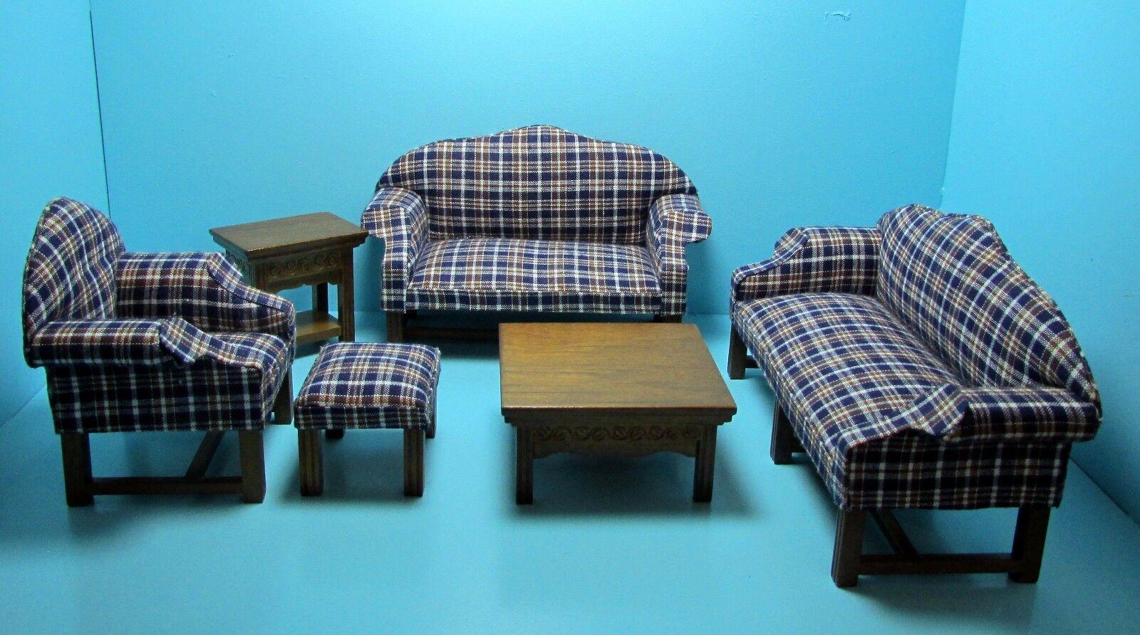 Dollhouse Miniature Blau Plaid & Walnut Living Room Set 6 Pieces  T6790