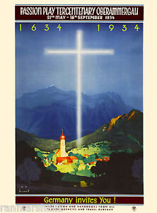1934 Germany Invites German Europe European Vintage Travel Advertisement Poster