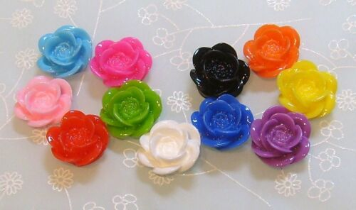 15 x Rose Resin Flat Back Cabochon Flowers 18mm x 8mm Various Colours CAB10