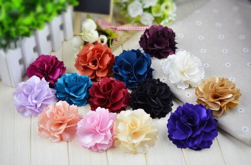 Satin Ribbon Color Rose Flower Wedding Bridal High Heel Sandals Shoe Clips Pair