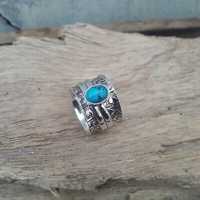 Jewelry & Watches Fast Deliver Turquoise Solid 925 Sterling Silver Spinner Meditation Statement Ring V874 Fine Craftsmanship Fine Rings