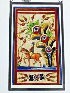 Bleiverglasung-Fensterbild-aeltere-Glasmalerei-im-Bauernmalerei-Stil-034-Ausritt-034