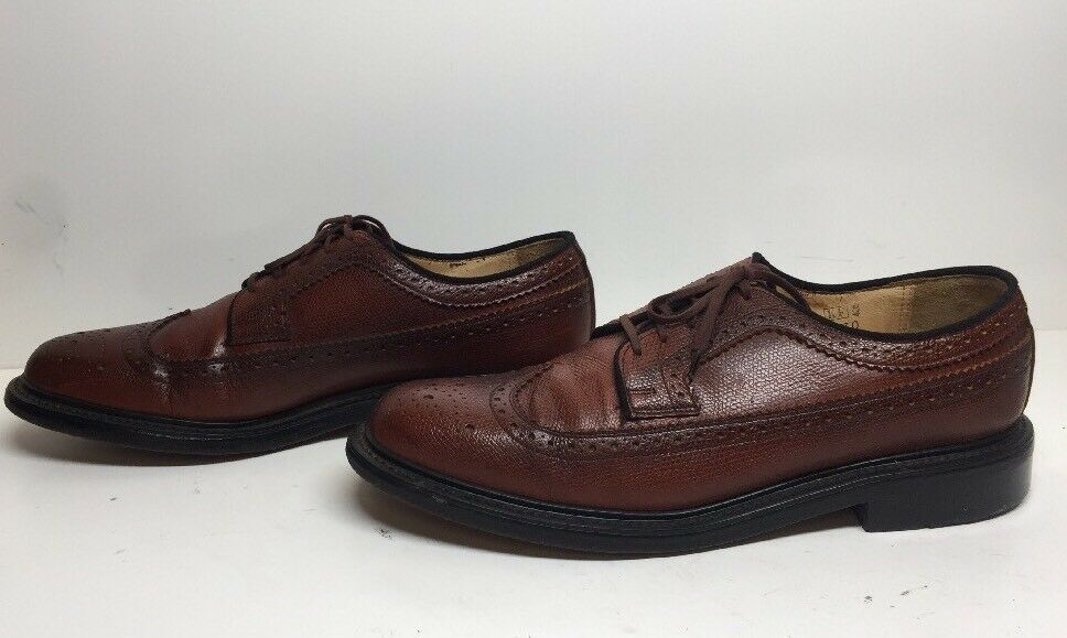 VTG MENS SEARS WINGTIP CASUAL LEATHER BROWN SHOES SIZE 10 D