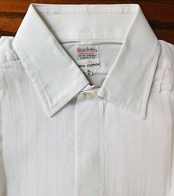 Vintage Camicia Abito A Pieghe Cotone Voile Colletto Taglia 16 Webster Bros Da Uomo-mostra Il Titolo Originale