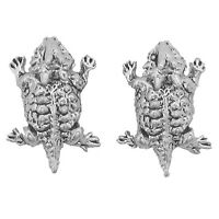 Sterling Silver Horned Toad Earrings Frog Desert Leap Jump Amphibian Jewellery